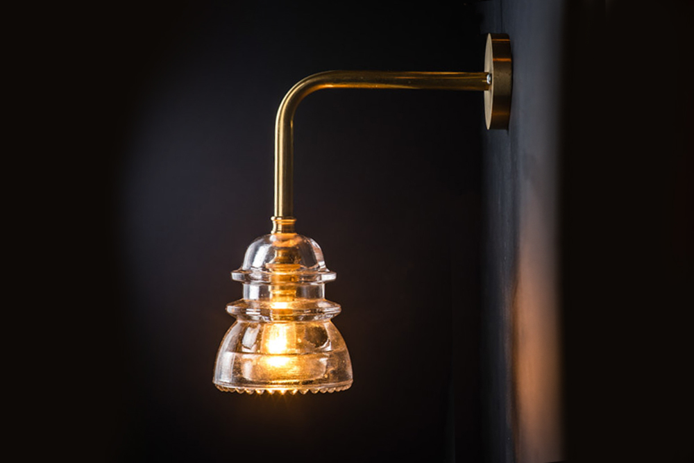 Brass Armed Insulator Glass Wall Light