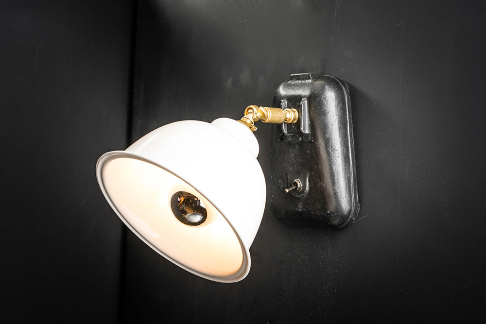 Vulcan Black Cast Stone and Bone China Wall Light