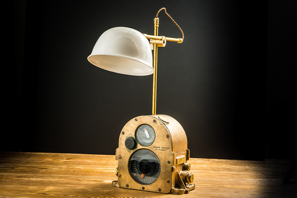 Brass and Bone China Steampunk Desk Lamp