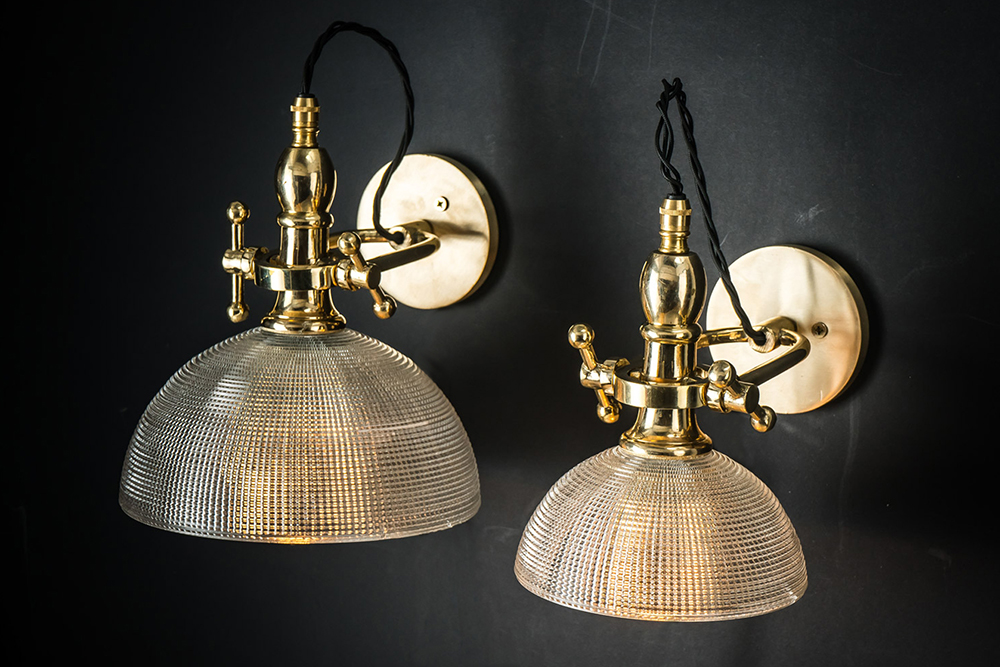 Cross-cut Holophane and Brass Wall Light