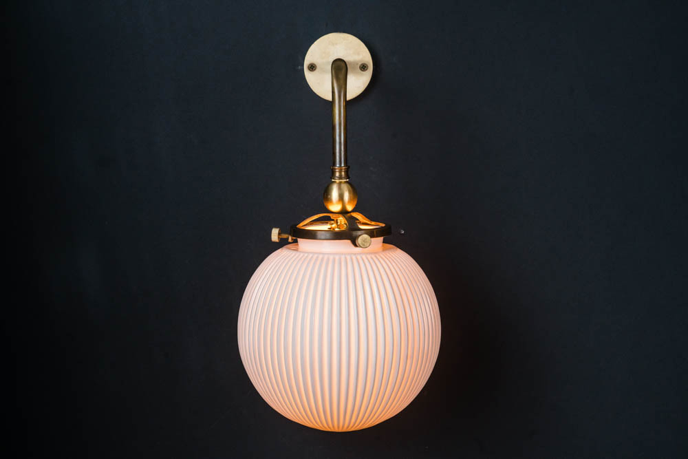 Ornate brass and bone china wall light .jpg