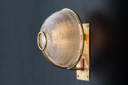Brass and holophane glass wall sconce 02.jpg