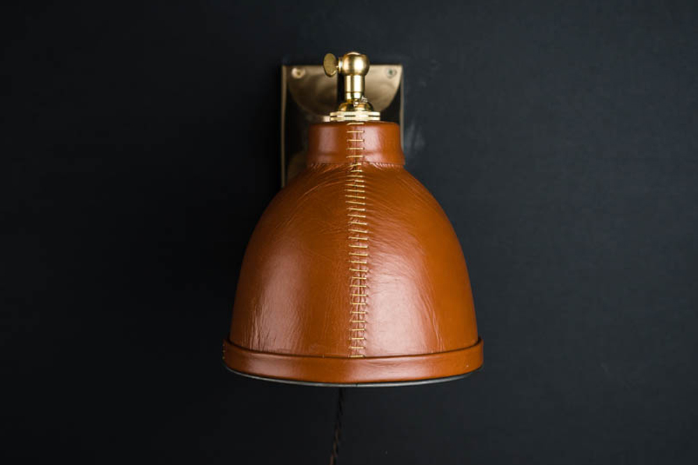 Adjustable brass and leather covered wall light 01.jpg
