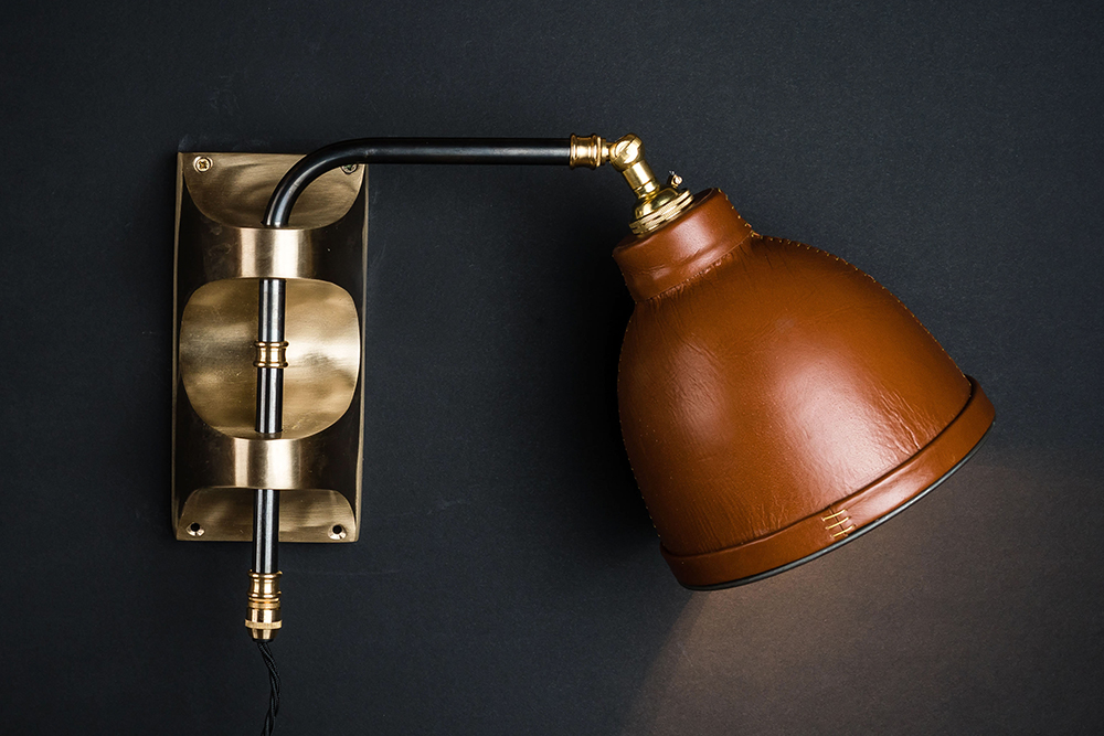Adjustable brass and leather covered wall light 05.jpg