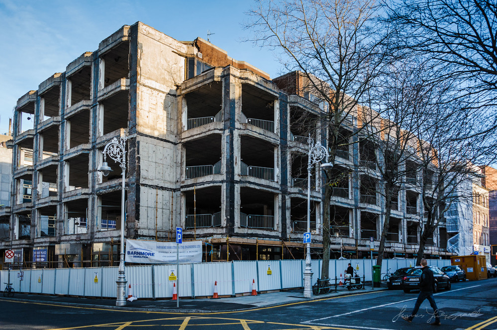 Building demolition on Dublin's Dawson Street and Molesworth Street