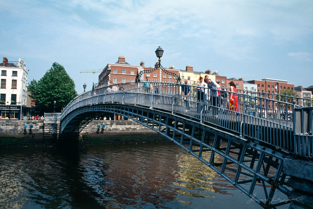 Dublin's Iconic Ha'penny Bridge, Around 1998