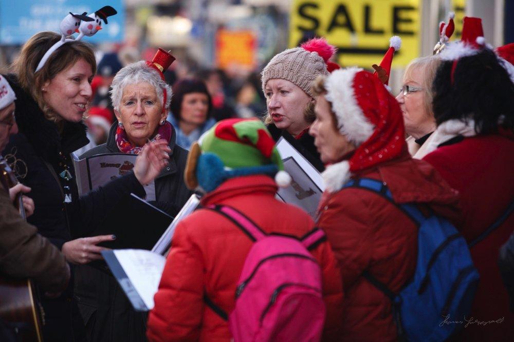 Carollers on Grafton Street at Christmas