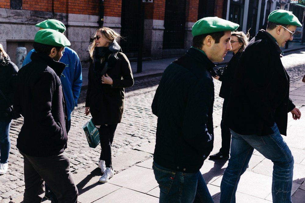 Tourists wearing Green hats in Temple Bar