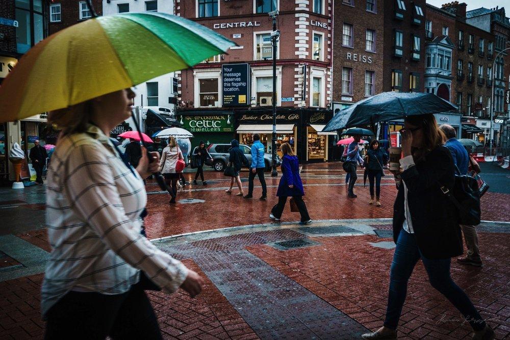 A wet day on Grafton Street in Dublin