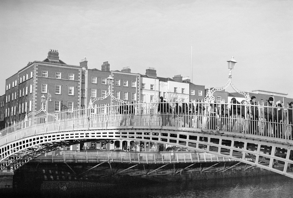 The Ha'penny Bridge Dublin in Black and White - Streets of Dublin
