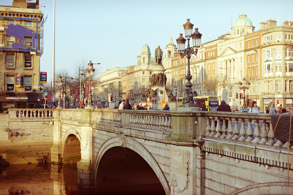 O'Connell Bridge in Dublin - Colour Film - Streets of Dublin