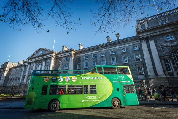 Dublin Tour Bus outside Trinity