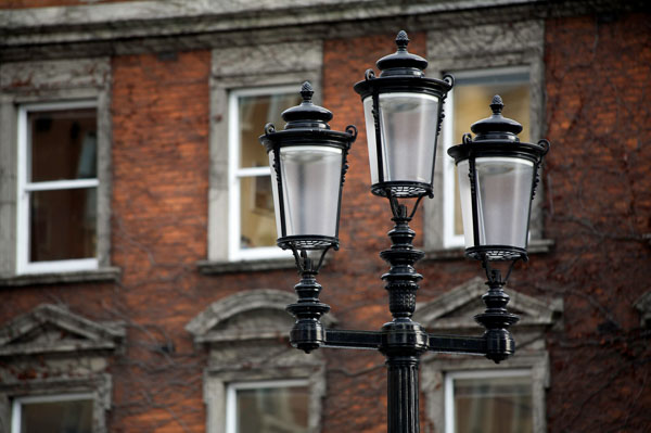 Lamp post on georgian building