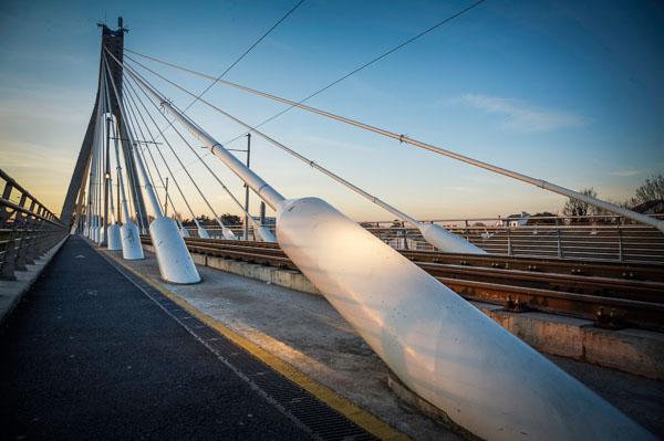 The Luas Bridge in Dundrum at Sunset