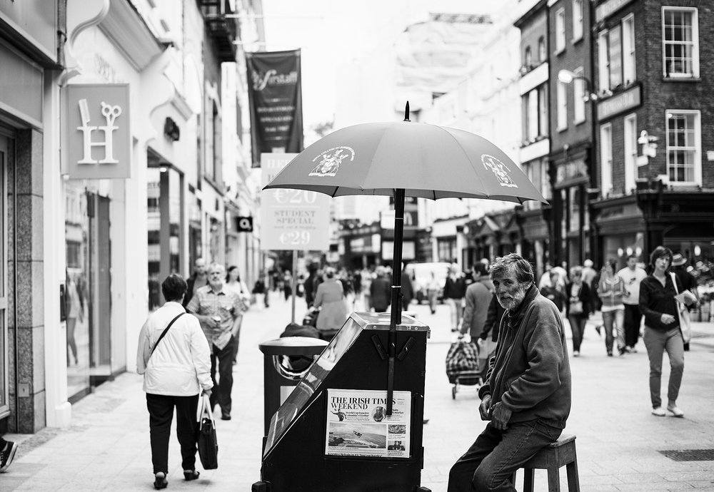 Newspaper Vendor - The Streets of Dublin