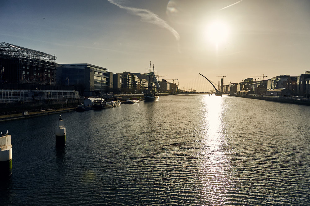 Morning sunshine over the River liffey