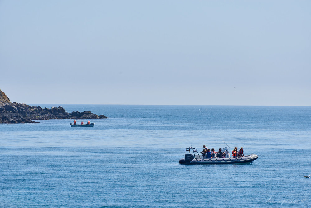 On a hot summer day in Dublin, Looking out across the Irish sea from the town of Dalkey. In the sea there are lots of yaghts and other boats.