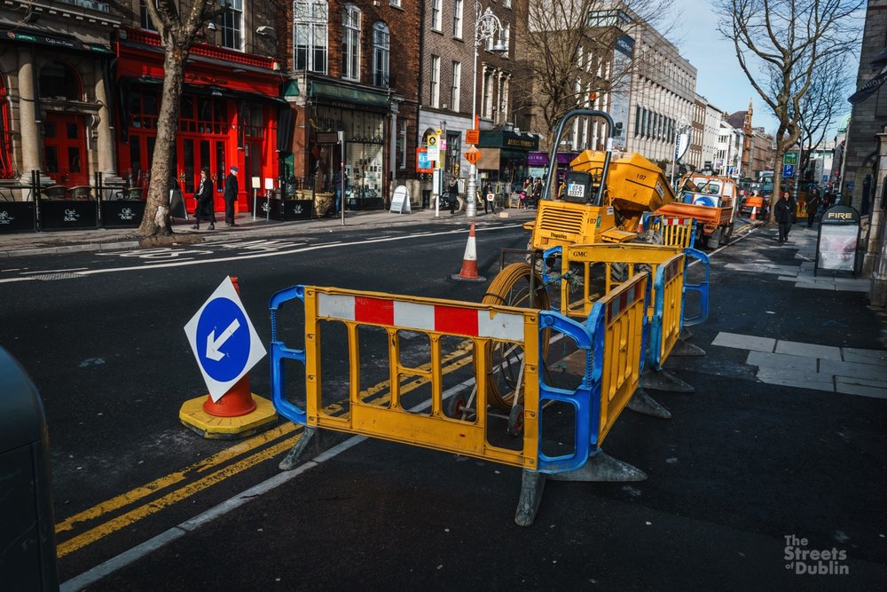 Luas construction work on Dawson Street