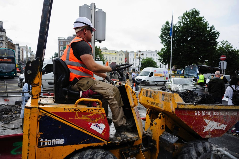 Luas Construction Workers on O'Connell Street