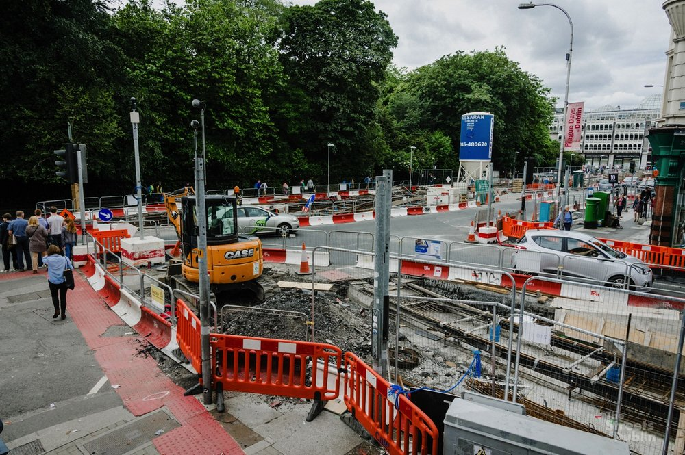 Luas Construction at Dawson Street and Stpehen's Green