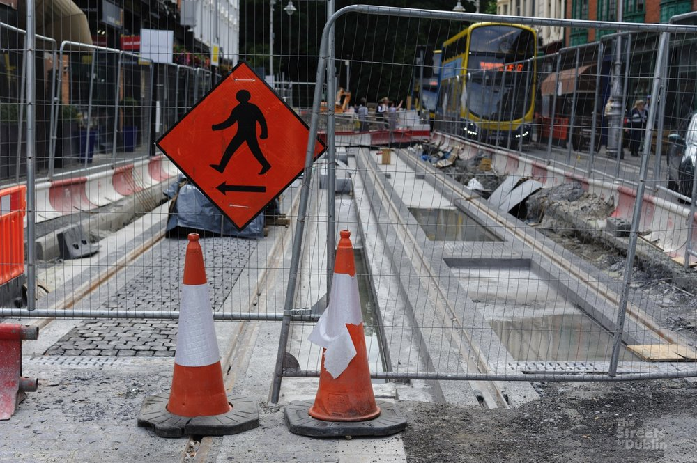 Track construction on Dawson Street