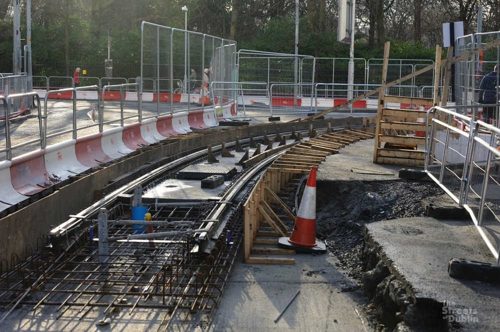 Track laying at Dawson Street