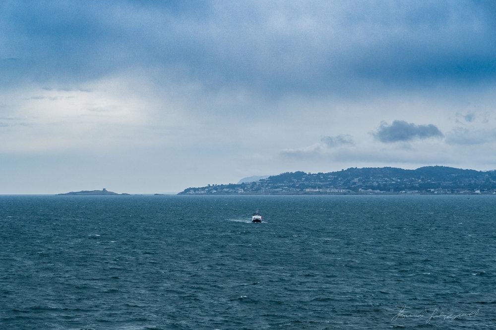 A boat in the water in Dublin Bay