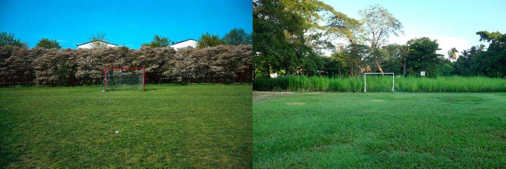 pasaron seis meses para que estas dos fotografías se encontrarán. un campo de fútbol, que inicia en algún lugar de Tensta, al norte de Estocolmo, los suburbios que me gusta caminar porque me siento en casa; y este pequeño campo de fútbol junto a la laguna de las Ilusiones, en Villahemosa, Tabasco.