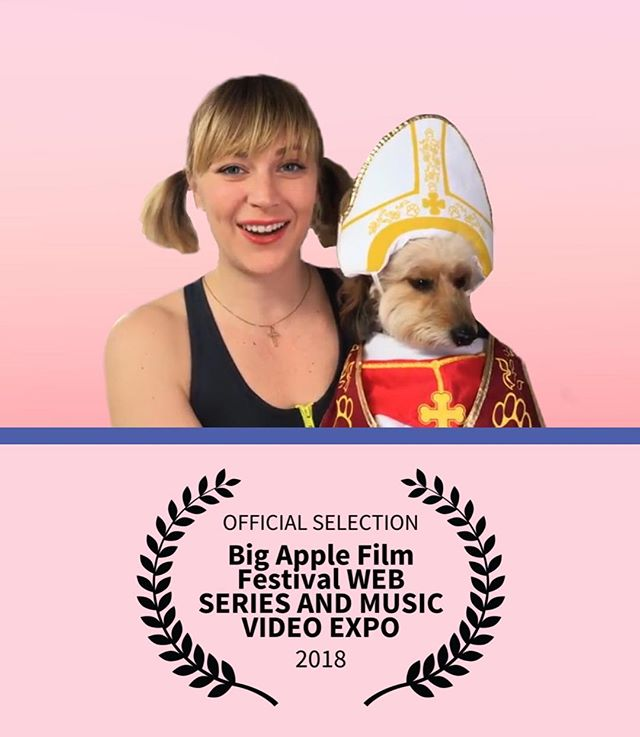 We pope to see you at the screening tomorrow! 6:45pm @svatheatre  @bigapplefilmfestival Web Series Fest • • • • #filmfestival #webseries #bigapple #ladytips #pope #film #womeninfilm #newyork #dogsofinstagram #dogs #tommorow #fitnessmodel #pigtails #doxiepoo #comedy #actor #laurels #heyladies #dachshundsofinstagram #dachshund #poodlesofinstagram #poodle #dogincostume #catholic #notcatholic #pink  #crossfit