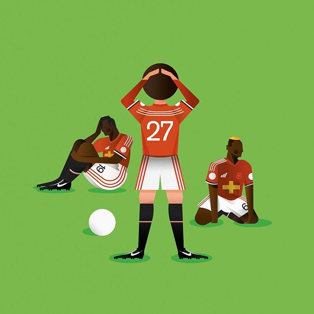 Or is it the players fault? Who do you think is going to be the first to go? Illustration by @jackbedford_ (2/2) - Grab your copy of @seasonannual 2017/2018 via our online shop. (Link in bio) Re-live all the action from last season - every game, every goal, all the best moments and all the best stats, beautifully illustrated. - #season #seasonannual #football #soccer #annual #premierleague #premier #league #amazing #original #illustration #design #graphic #graphicdesign #instagood #follow #photooftheday #magazine #book #availablenow #mourinho #manunited #manchesterunited #mufc