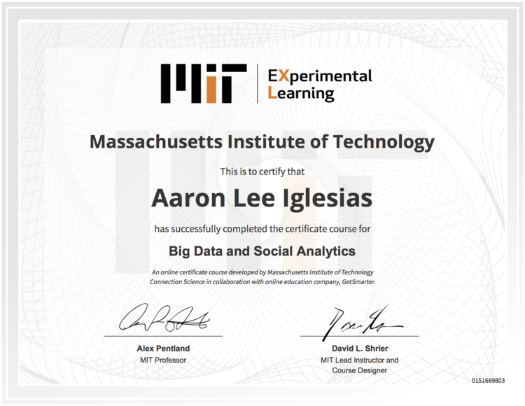 Honor of achievement aaron aaron iglesias big data certificate yadclub Images