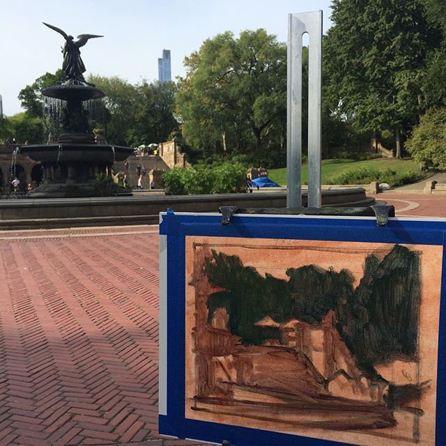 Starting a painting at Bethesda Fountain in Central Park