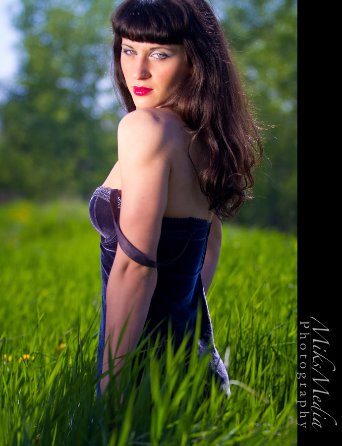 boudoir lingerie in the grass