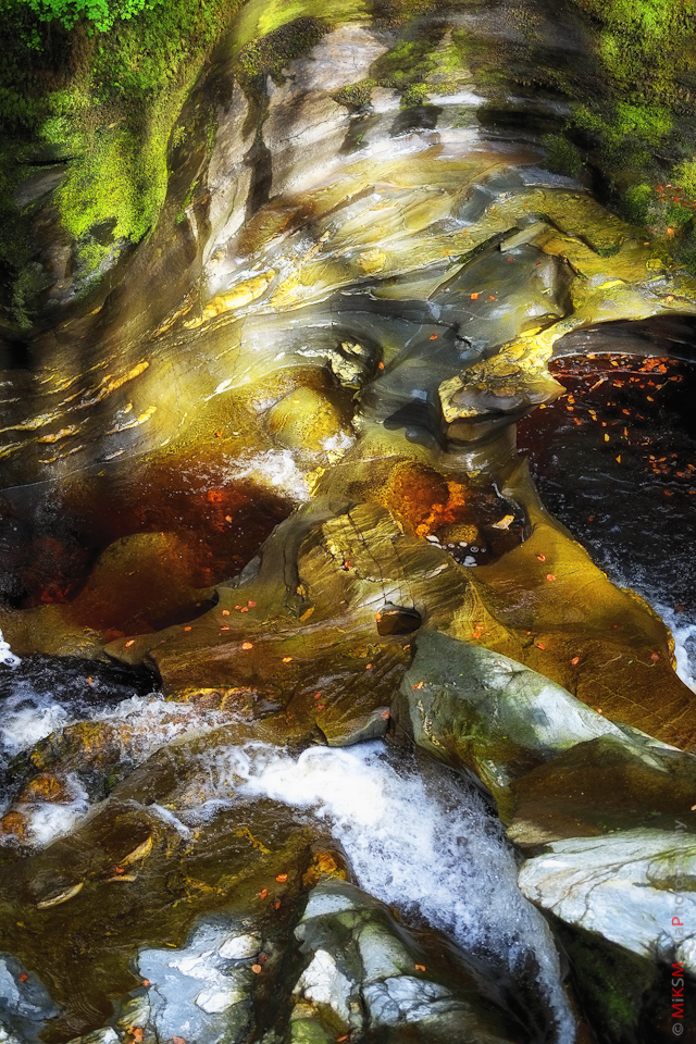 creek rock dappled sun art