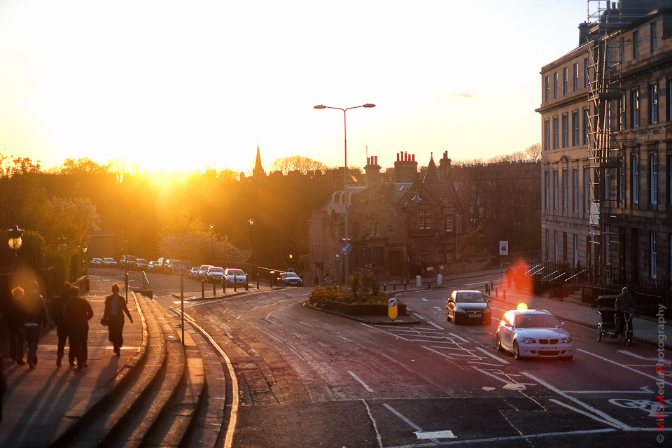 sunset street edinburgh scotland photography