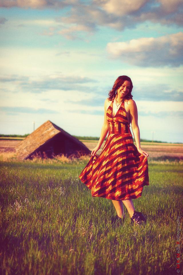 lady dress farm field alberta