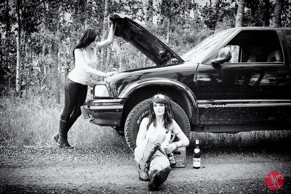 truck women road broken
