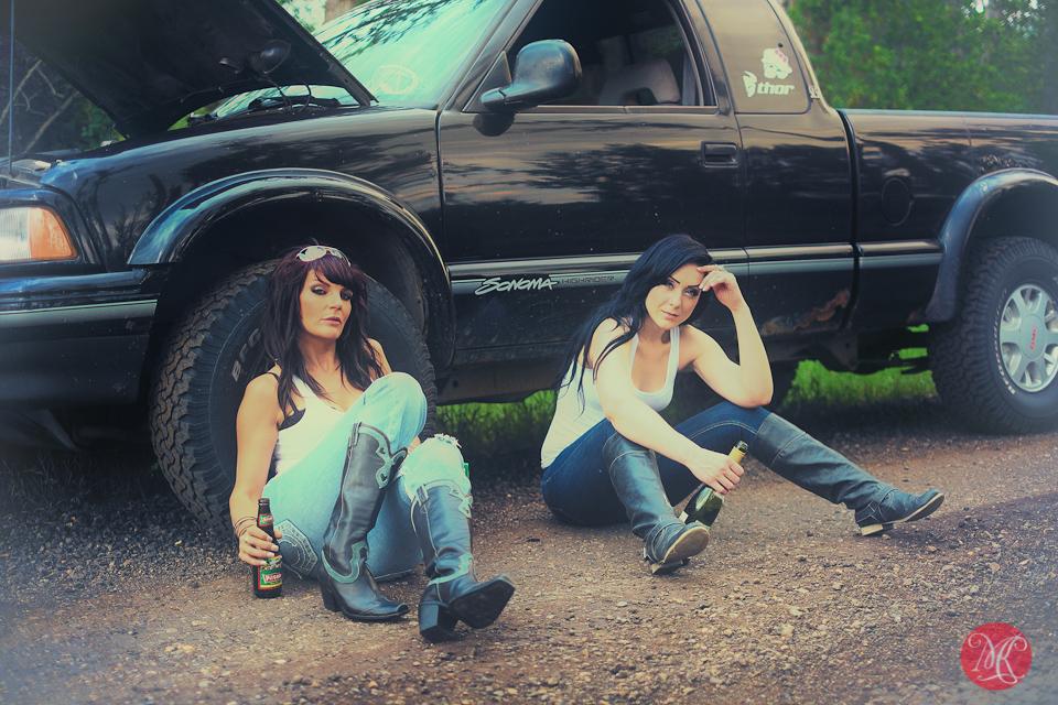 truck woman portrait photography
