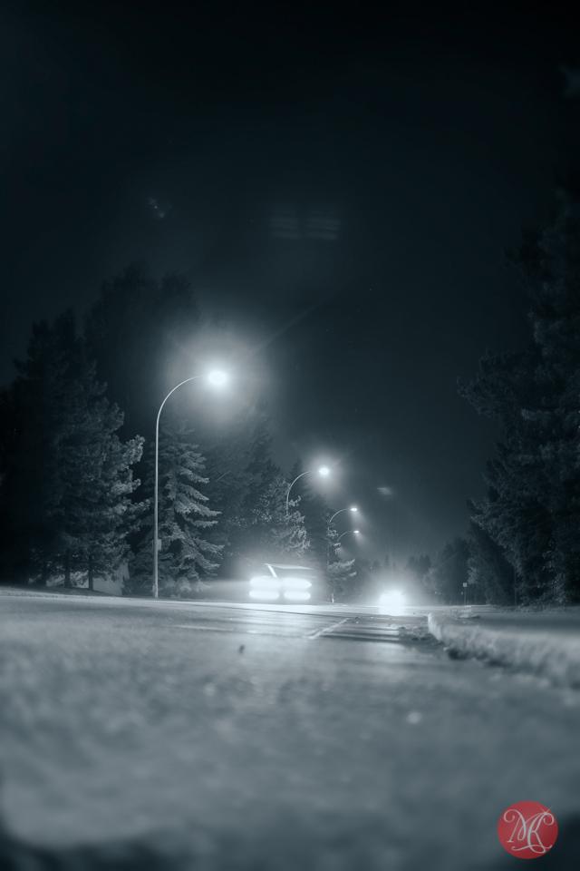 night landscape street cars edmonton