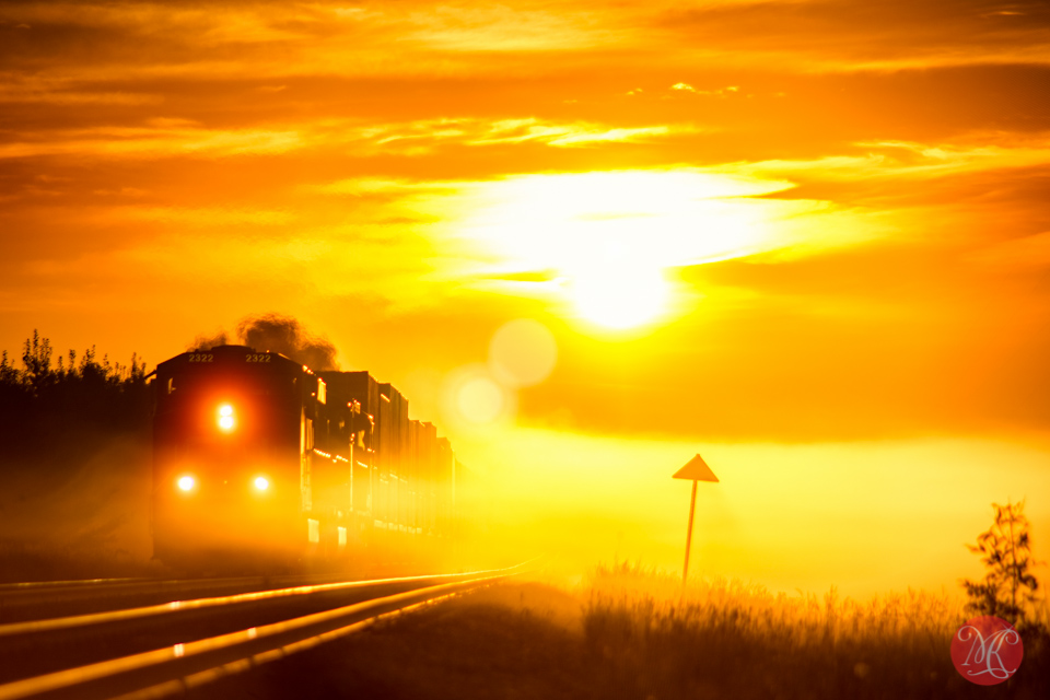 sunrise landscape alberta train fog photography