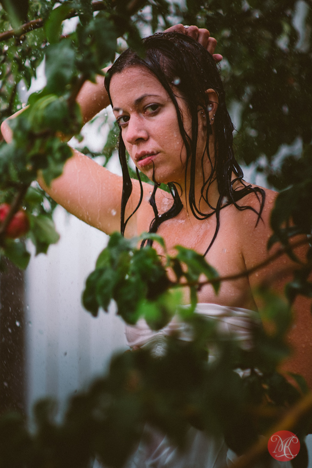 sexy woman tree rain portrait photography