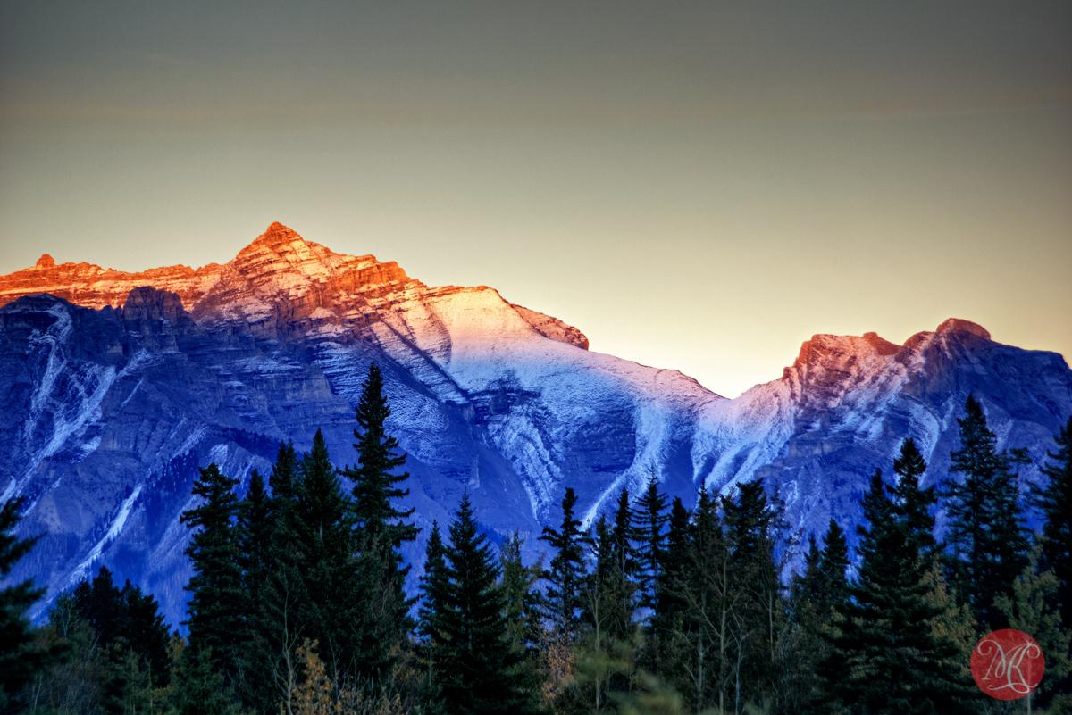 sunset mountains alberta banff