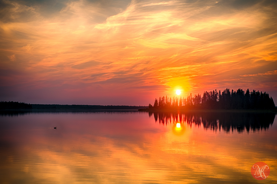 sunset alberta lake landscape elk island