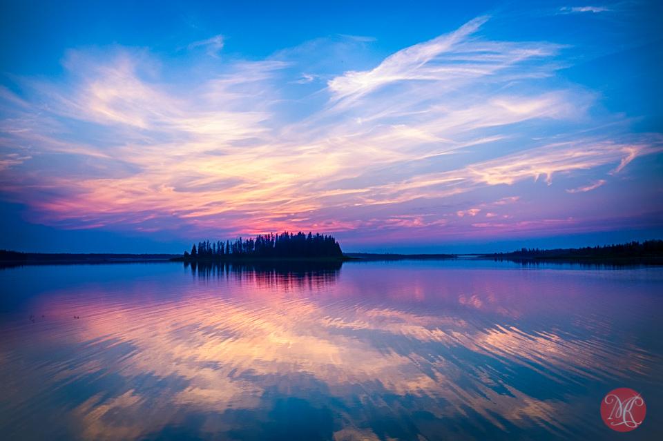alberta lake landscape sunset reflection water
