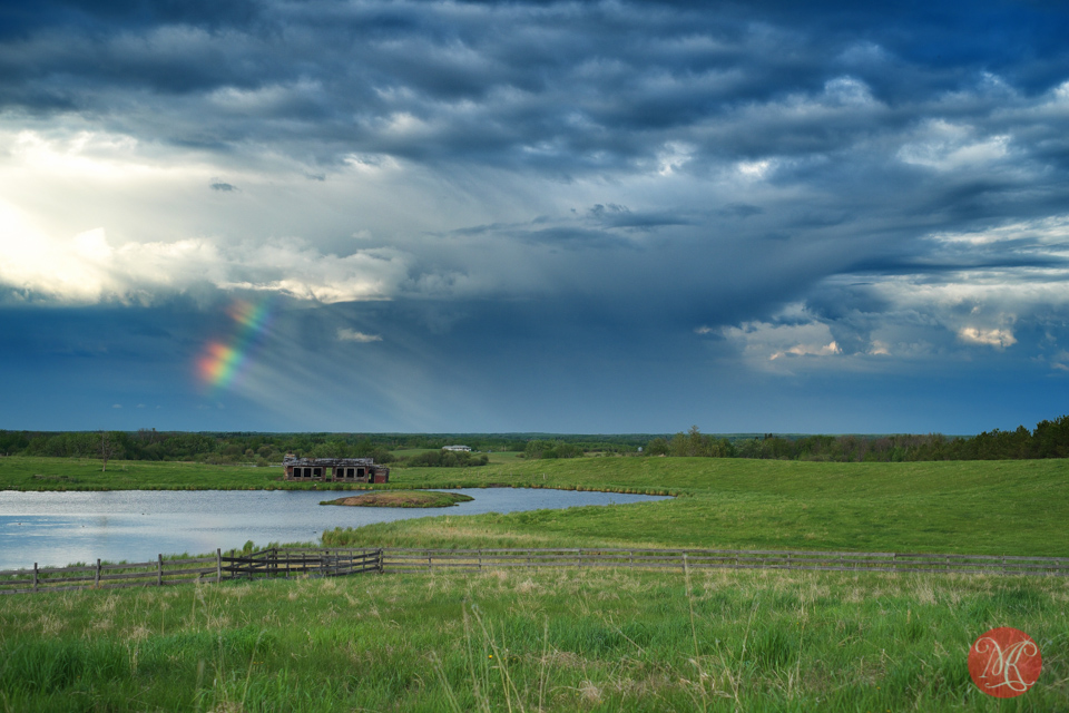alberta storm landscape rainbow summer