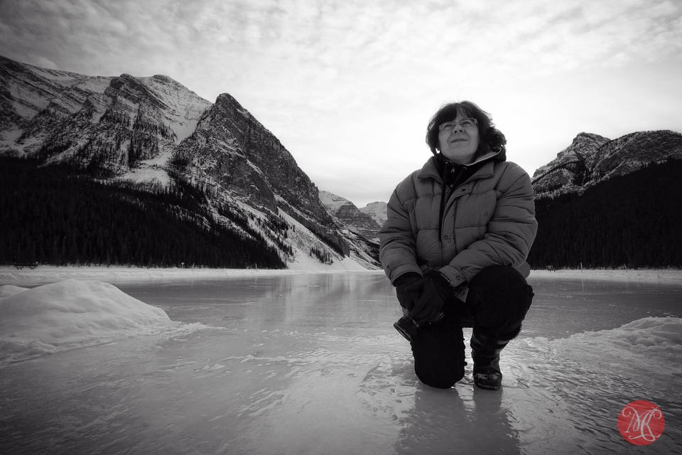 portrait lake louise photographer winter ice snow
