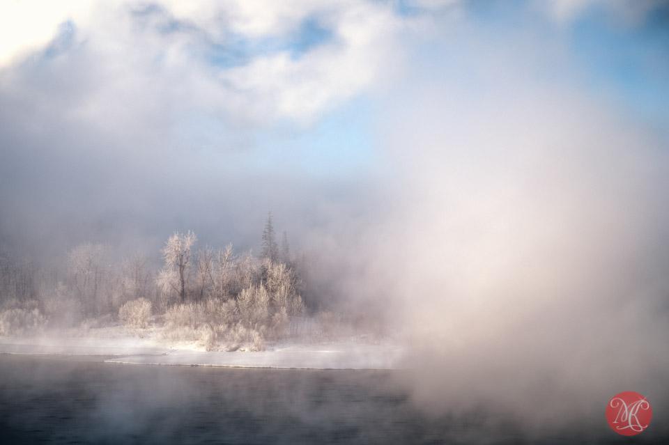 fog river winter alberta edmonton landscape