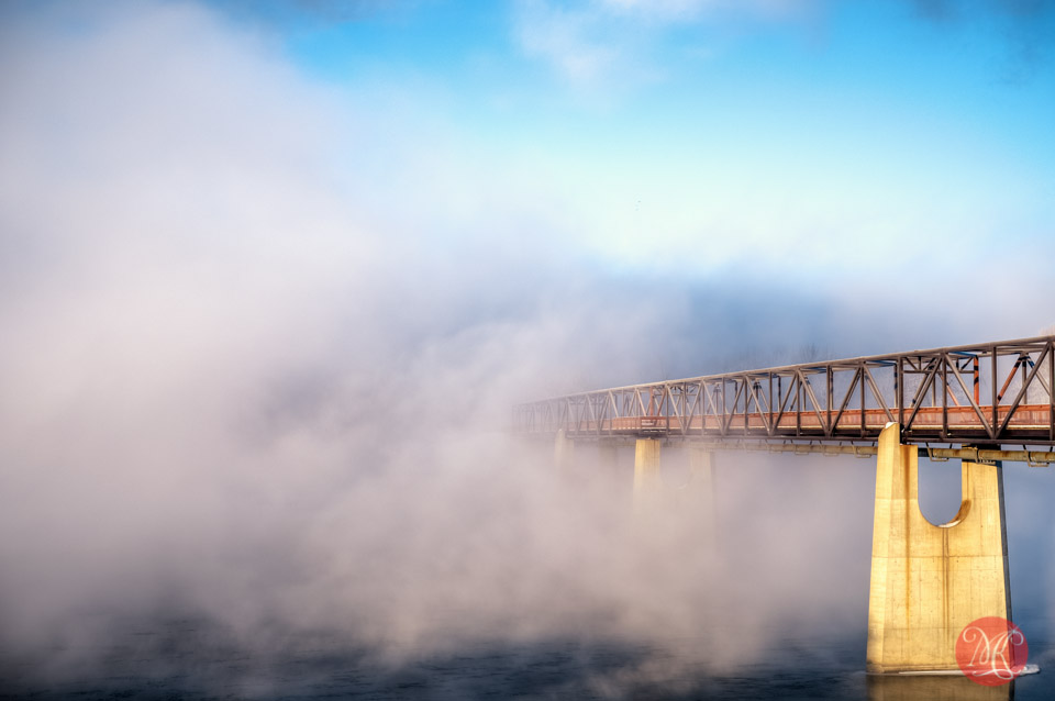 fog bridge winter river edmonton photographer