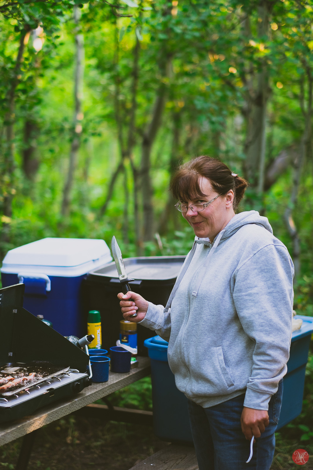 Cooking breakfast - Alberta camping