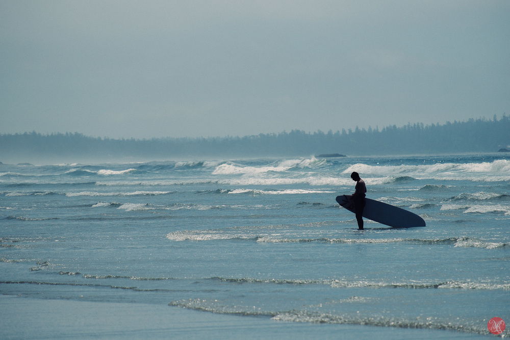 Lonely surfer at Long Beach with Fuji X